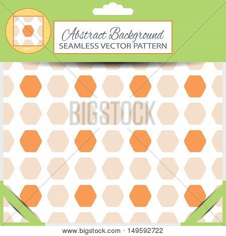 Green retail package of vector abstract seamless pattern with orange and light beige hexagon shapes with pattern unit in the top.