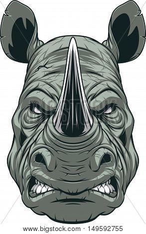 Vector illustration a ferocious rhinoceros head on a white background