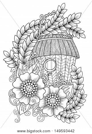 Black and white wood nesting box. Hand drawn outline bird house decorated with floral ornament. Zentangle inspired pattern for coloring book pages for adults and kids, tattoo, poster. Boho style.