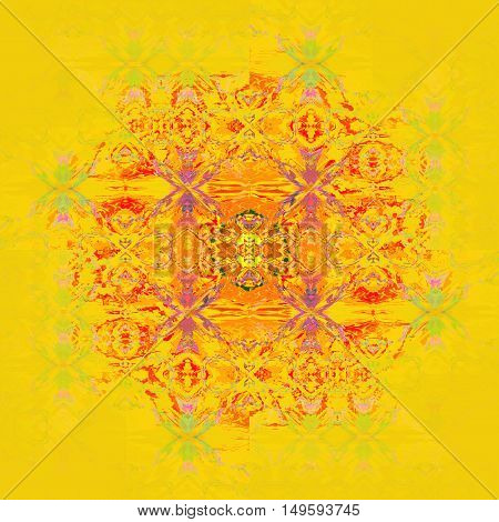 Abstract geometric seamless background. Regular ornament in orange and yellow green shades with red and purple elements, centered on bright yellow with copyspace.