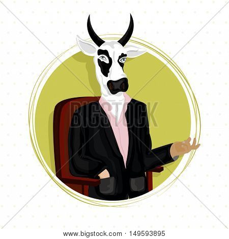 Creative Anthropomorphic design, Cow dressed up like business man and sitting on a chair, Fashion Animal illustration, Half Human and Half Animal concept.