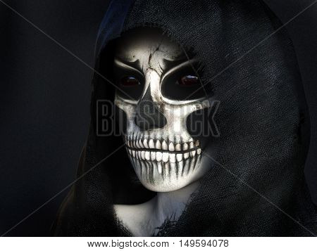Portrait of the reaper dressed in a black hood 3D rendering. Dark background.