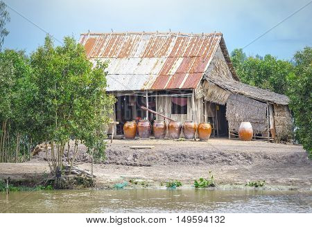 Small house in the Mekong Delta Vietnam