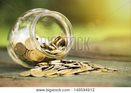 Golden money coins in a glass jar - charity donation concept