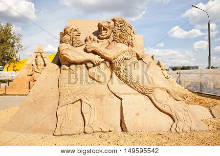 MOSCOW RUSSIA - August 18.2013: Exhibition of sculptures made of sand in Kolomenskoye city park. Sculpture Assyria