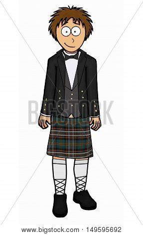 Men's welsh clothing vector illustration retro kilt