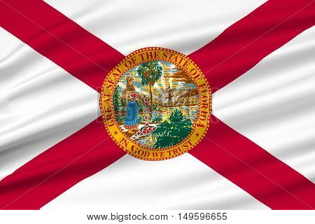 Flag of Florida is a state of United States. 3D illustration