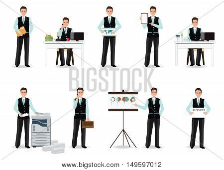 Businessman working in smart suit isolated on white office workers taking on phone copying file presentation Cartoon character business people flat design vector illustration.