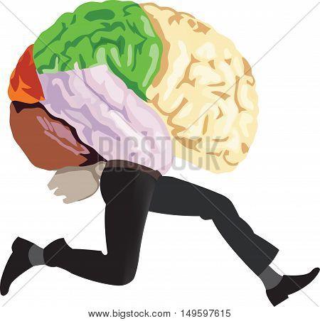 brain human organ with legs running flees