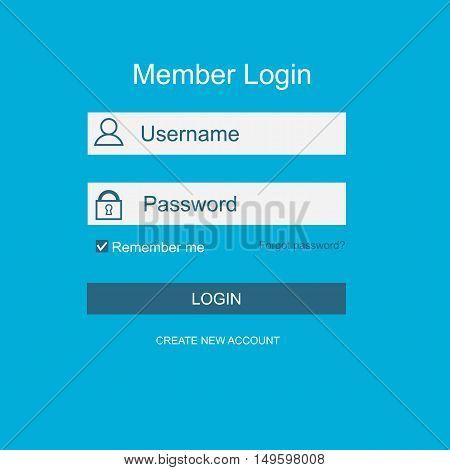 Login form menu with simple line icons. background Website element for your web design. Vector illustration.