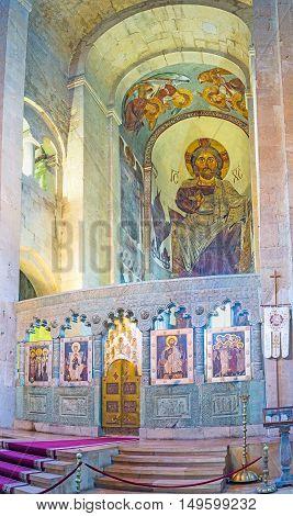 MTSKHETA GEORGIA - JUNE 6 2016: The Svetitskhoveli Cathedral was the place of crowning and burying of Georgian Kings on June 6 in Mtskheta.
