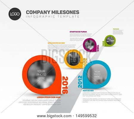 Vector Infographic Company Milestones Timeline Template with pointers and photo placeholders on straight road line