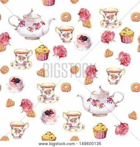 Teatime - tea pot, cup, cakes and flowers. Repeating pattern. Water color