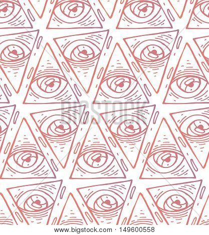 Trendy fashion all seeing eye seamless pattern. Hand drawn Eye pyramidal symbol. Alchemy religion spirituality occultism textiles art. Isolated vector illustration. Conspiracy theory.