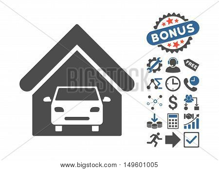 Car Garage icon with bonus clip art. Glyph illustration style is flat iconic bicolor symbols, cobalt and gray colors, white background.