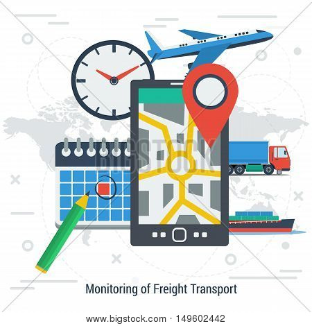 Vector square concept of monitoring freight transport. Tracking of cargo during shipping. Smartphone with location place of load clock calendar and type of transportation on world map background