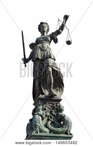 isolated statue of lady justice in frankfurt, germany poster