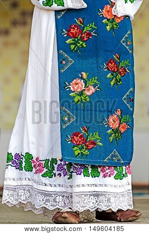Detail of traditional Romanian folk costume worn by women from Banat area Romania.