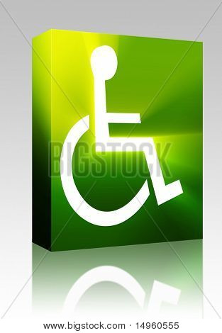 Software package box Handicap symbol illustration icon of wheelchair clipart
