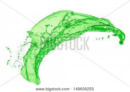 green juice splash on white background