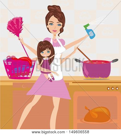 Busy young mother simultaneously doing many tasks around the house , vector illustration