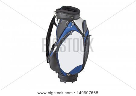 Front view of a multiple pockets golf bag in blue white black with quick release shoulder straps isolated on white background