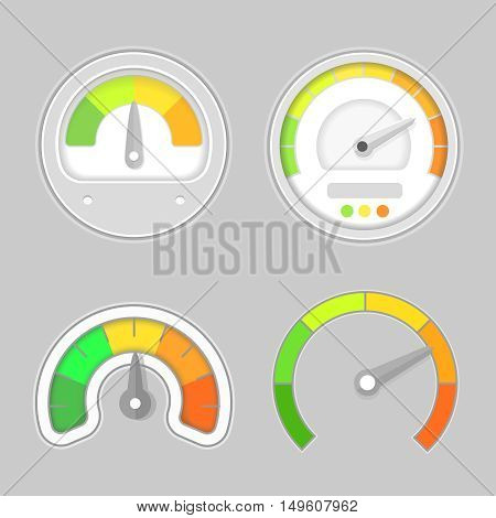 Gauge meter element. illustration. Speedometer icon or sign with arrow. Dashboard indicate, panel indicator.