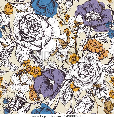 Vintage floral vector seamless pattern with roses, anemones, butterfly and wildflowers, botanical natural anemones and roses Illustration. Nature vintage floral seamless background