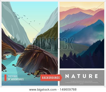 Set of nature landscape backgrounds with silhouettes of mountains and trees. Vector Illustration