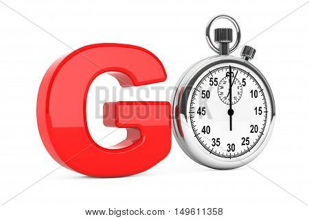 Classic Stopwatch as Red Go Sign on a white background. 3d Rendering
