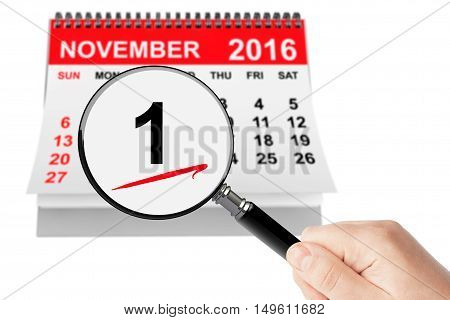 All Saints Day Concept. 1 November 2016 calendar with magnifier on a white background