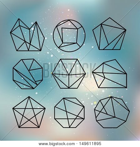 Line shapes crystal geometry. Diamonds design. Alchemy religion philosophy spirituality hipster symbols and elements. Polygon style with geometric shapes in retro style.