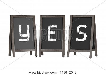 Wooden Menu Blackboard Outdoor Displays with Yes Sign on a white background. 3d Rendering