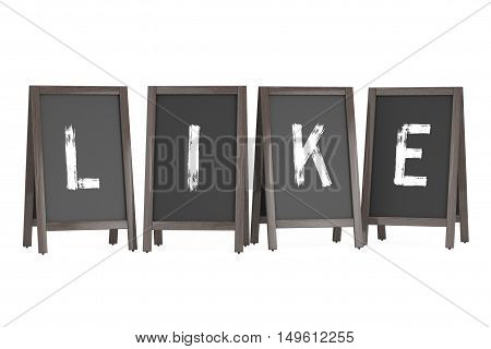 Wooden Menu Blackboard Outdoor Displays with Like Sign on a white background. 3d Rendering