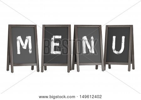 Wooden Menu Blackboard Outdoor Displays with Menu Sign on a white background. 3d Rendering