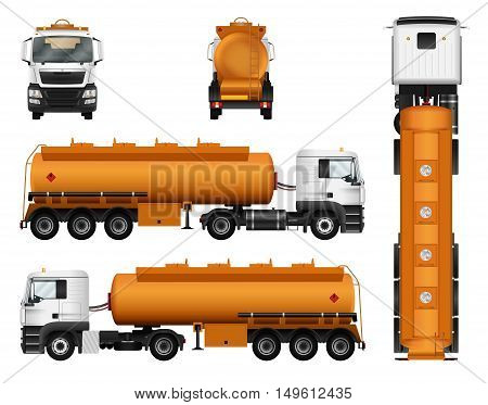 Gas tanker truck trailer vector template. Isolated cargo car on white background.