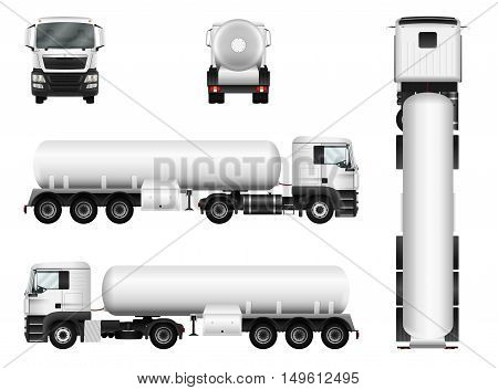 White truck whith trailer. Vector tank car template. Separate groups and layers.