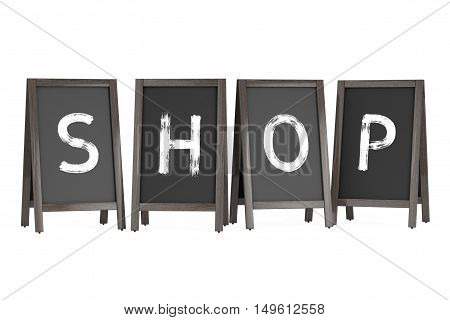 Wooden Menu Blackboard Outdoor Displays with Shop Sign on a white background. 3d Rendering
