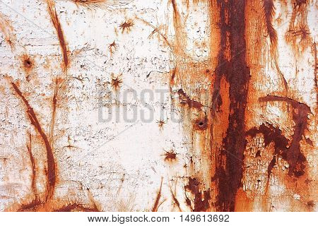 old rusty painted metal wall. background texture