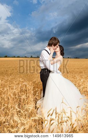 Inlove Bride And Groom In Wheat Field With Dramatic Sky In The Back