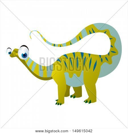 cute vector comic cartoon animal. Cool colorful dinosaur Apatosaurus