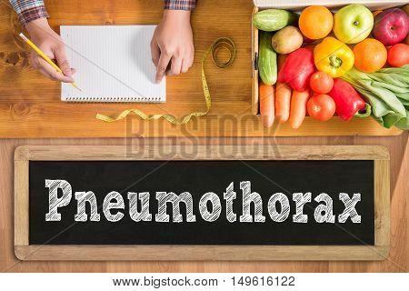 Pneumothorax doctor work hard top view  concept