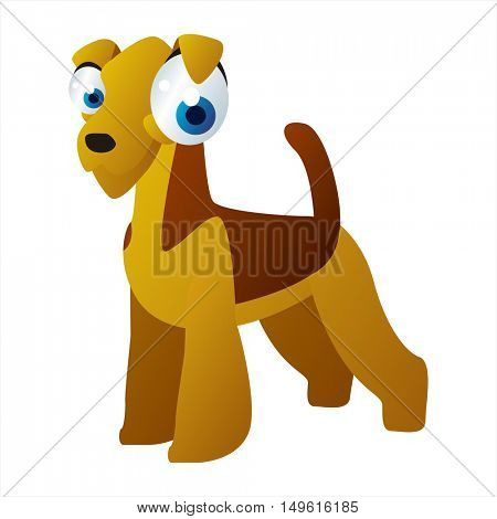 Vector cute cartoon isolated on white dog breeds image. Dogs. Airedale terrier