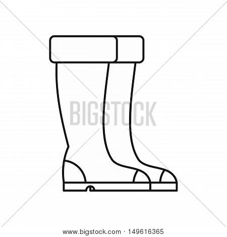 Winter boots icon in outline style on a white background vector illustration