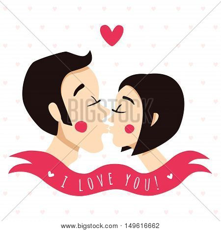 I love you greeting card and background with kissing couple (brunettes) ribbon and heart