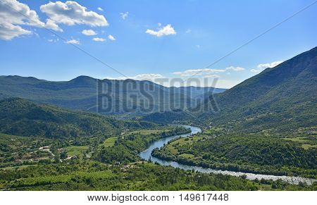 The landscape close to the village of Lastva in Bosnia near the border between Bosnia and Montenegro.