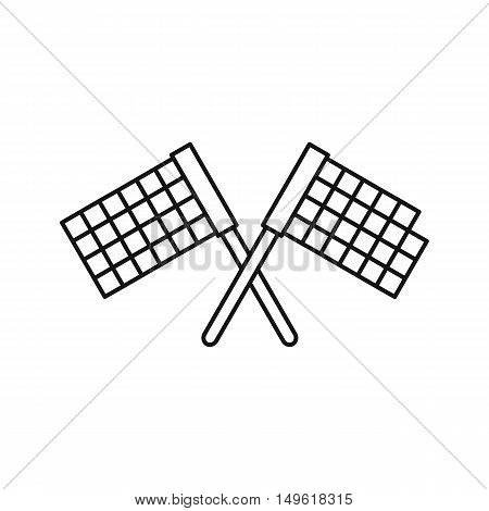 Crossed flags icon in outline style on a white background vector illustration