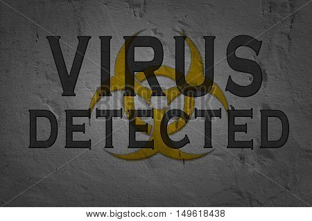Word Virus Detected isolated on dark background with biohazard sign.