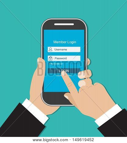 Man hand holding smart phone. Login form. Mobile account. Sign in screen on smartphone. vector illustration in flat style on green background
