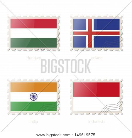 Postage Stamp With The Image Of Hungary, Iceland, India, Indonesia Flag.